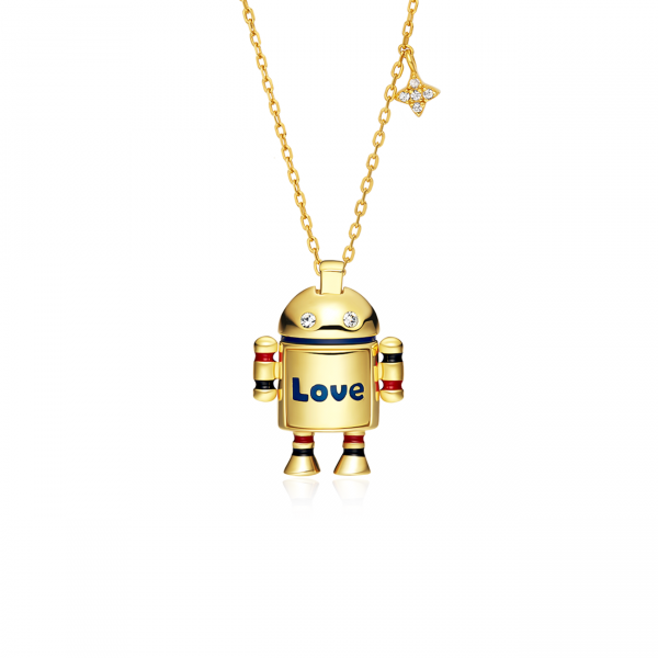 Brave Andy Robot Necklace (Silver Gold)