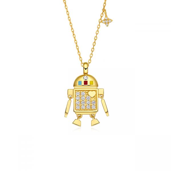totwoo golden robot necklace